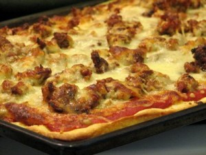 Sausage pizza loaded 300x225 National Sausage Pizza Day   Bake a Homemade Pizza