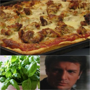 Sausage pizza basil Castle 300x300 Homemade Sausage Pizza | Inspired by Castle
