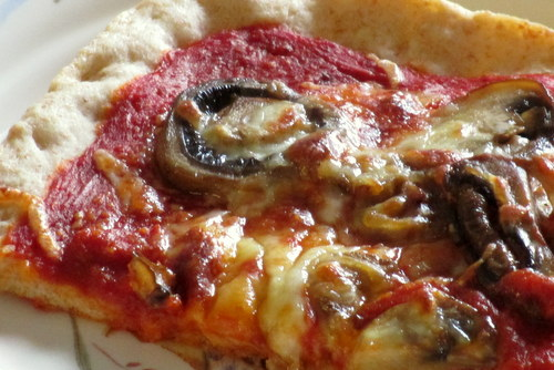 mushrooms on homemade pizza